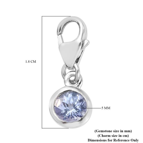 AA Tanzanite (Rnd) Charm in Platinum Overlay Sterling Silver