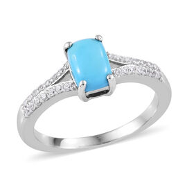 2.08 Ct Sleeping Beauty Turquoise and Cambodian Zircon Solitaire Ring in Sterling Silver