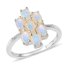 1 Carat Natural Australian Opal Cluster Ring in Silver