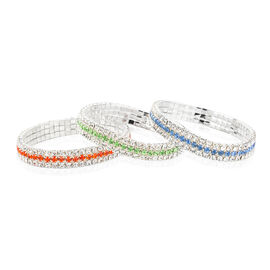 One Time Close Out Deal-  Set of 3- Blue, Orange and White Austrian Crystal Stretchable Bracelet (Size 7 to 9)