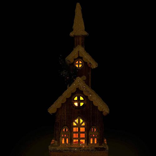 3 LED Tier Snow Tipped  Wood House (Size: 17x11x46cm) (2xAA Battery not Included)