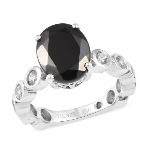 GP 3.50 Ct Elite Shungite and Multi Gemstone Solitaire Design Ring in Platinum Plated Silver
