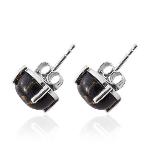 Arizona Mojave Black Turquoise (Rnd) Stud Earrings (with Push Back) in Platinum Overlay Sterling Silver 5.000 Ct.