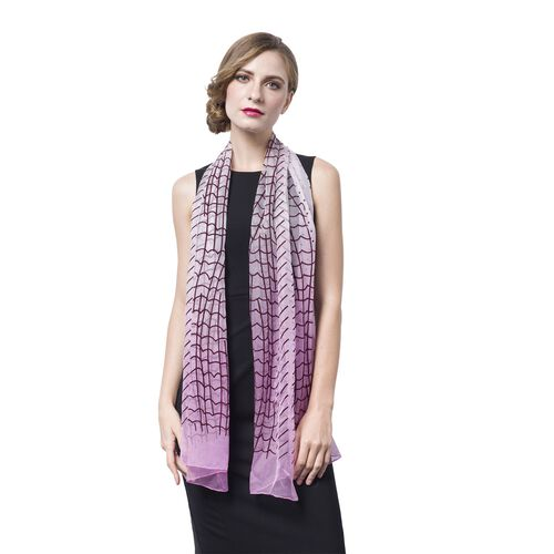 100% Mulberry Silk Light Pink and Chocolate Colour Abstract Pattern Scarf (Size 170X50 Cm)