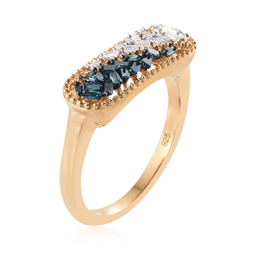 Blue and White Diamond (Tapper Baguette) Ring in 14K Gold and Blue Overlay Sterling Silver 0.250 Ct