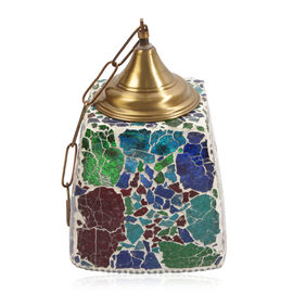 Home Decor Multicolour Mosaic Glass Hanging Lamp with Iron Fixture and Electric Fitting