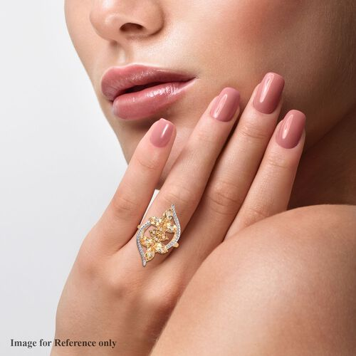 AA Citrine Floral Ring in 18K Yellow Gold Plated 2.30 Ct.
