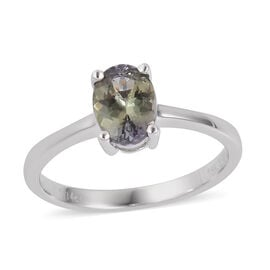 ILIANA 1.14 Ct AAA Peacock Tanzanite Solitaire Ring in 18K White Gold 2.67 Grams