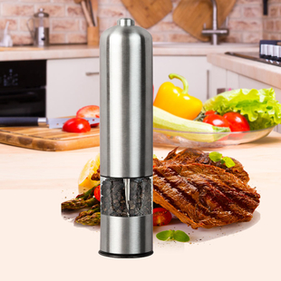 Set of 2 - Electric Pepper and Salt Grinder (Requires 4x AA batteries - not included) - Silver