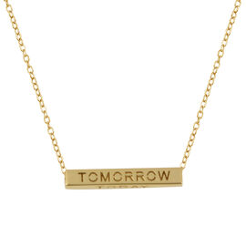 Italian Made - 9K Yellow Gold Yesterday, Today, Tomorrow & Forever Bar Cable Chain Necklace (Size 18