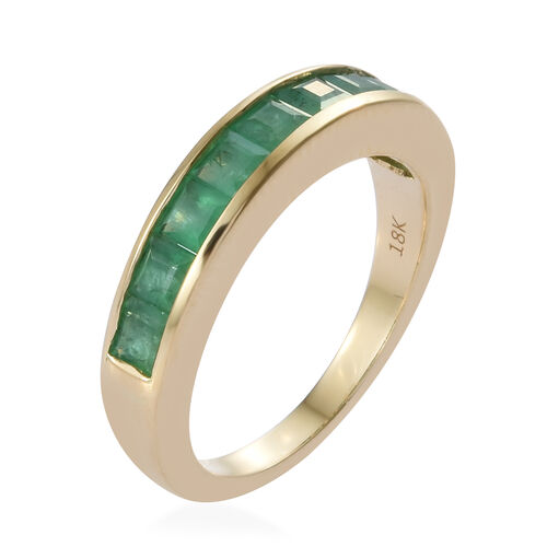 ILIANA 18K Yellow Gold AAA Kagem Zambian Emerald (Sqr) Half Eternity Band Ring 1.350 Ct.