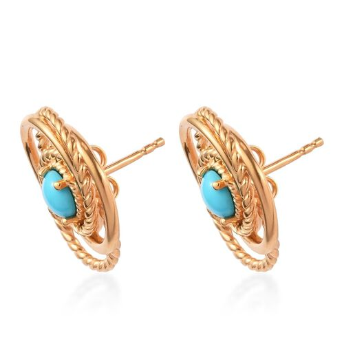 Arizona Sleeping Beauty Turquoise Stud Earrings (with Push Back) in 14K Gold Overlay Sterling Silver 1.00  Ct.