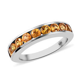 Golden Sapphire Half Eternity Band Ring in Platinum Overlay Sterling Silver 1.25 Ct.