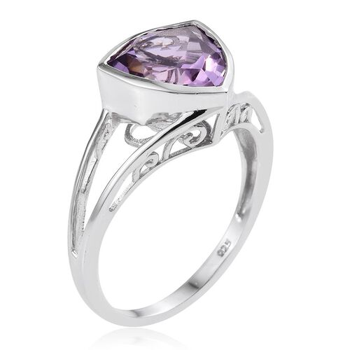 Amethyst (Trl) Solitaire Ring in Platinum Overlay Sterling Silver 4.000 Ct.