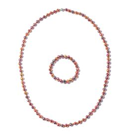 2 Piece Set - Mystic Colour Beads Necklace (Size 29.50) and Stretchable Bracelet (Size 6.50)