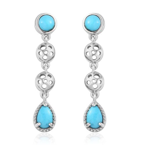 Arizona Sleeping Beauty Turquoise Drop Earrings (with Push Back) in Platinum Overlay Sterling Silver