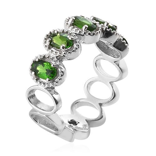 GP Russian Diopside (Ovl), Kanchanaburi Blue Sapphire Ring in Platinum Overlay Sterling Silver 1.000 Ct.