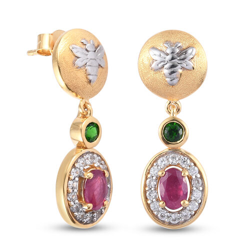 GP Italian Garden Leaf and Flower - Russian Diopside, African Ruby, Natural Cambodian Zircon and Blue Sapphire Earrings in 14K Gold Overlay Sterling Silver 1.99 Ct.