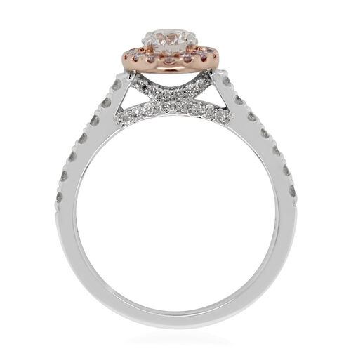 NY Close Out Deal- 14K White and Yellow Gold Natural Pink Diamond and White Diamond (I1/G-H) Ring 1.00 Ct.