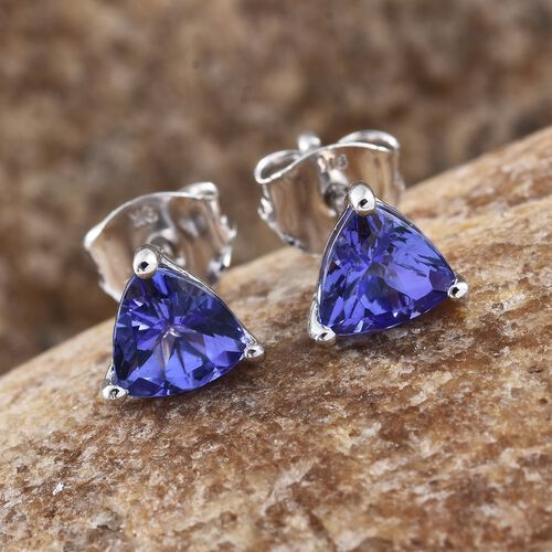 9K White Gold 1.50 Ct AA Tanzanite Solitaire Stud Earrings (with Push Back)