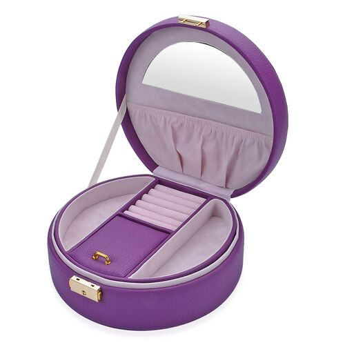 Purple Colour Two Tier Jewellery Box With Mirror Inside (Size  20x19x8.5 Cm)