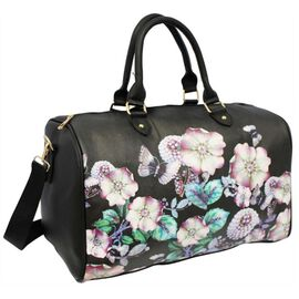 Floral Printed Large Size Duffle Weekend Bag (Size 32x41x22Cm) - Black