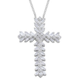 Diamond (Bgt and Rnd) Cross Pendant with Chain in Platinum Overlay Sterling Silver 0.500 Ct.