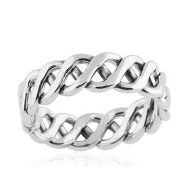 Rhodium Overlay Sterling Silver Celtic Knot Band Ring