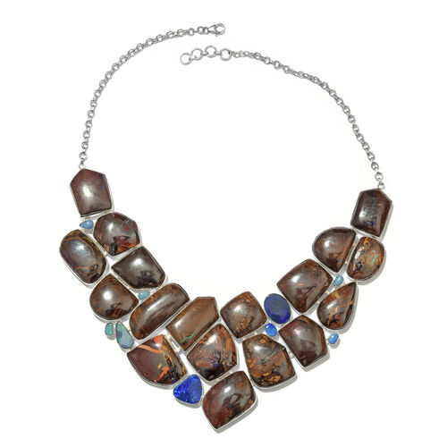 Opal Rock and Opal Double Statement Necklace in Silver 62.38 Grams 18 with 1 inch Extender