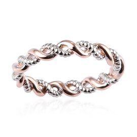 WEBEX- Rose Gold and Platinum Overlay Sterling Silver Twisted Band Ring