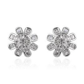 0.33 Ct Diamond Floral Stud Earrings in Platinum Plated Silver