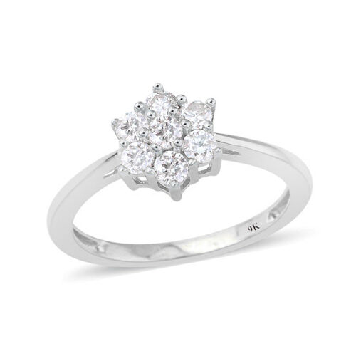 9K White Gold 0.50 Ct SGL Certified Diamond (I3/G-H) 7 Stone Floral Ring