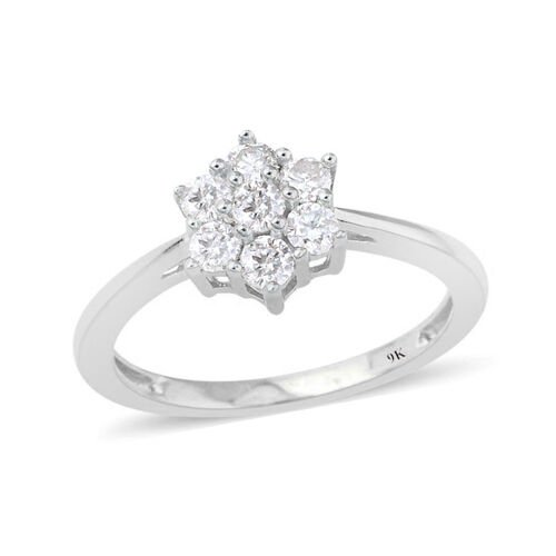 9K White Gold 0.50 Ct SGL Certified Diamond (Rnd) (I3/G-H) 7 Stone Floral Ring
