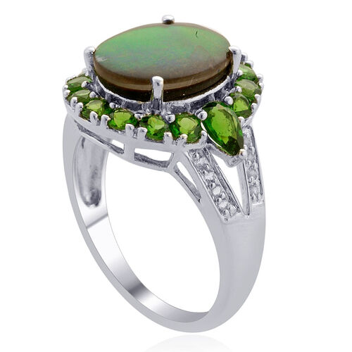 Canadian Ammolite, Russian Diopside, White Topaz Platinum Plated Cocktail Ring