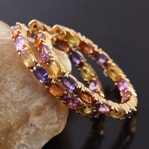 Multi Sapphire (Ovl) Hoop Earrings (with Clasp) in 14K Gold Overlay Sterling Silver 7.250 Ct.