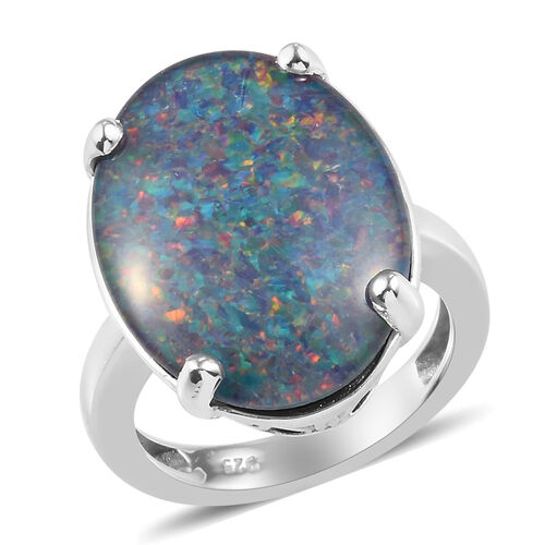 8.75 Ct AAA Boulder Opal Solitaire Ring in Platinum Plateding Sterling Silver
