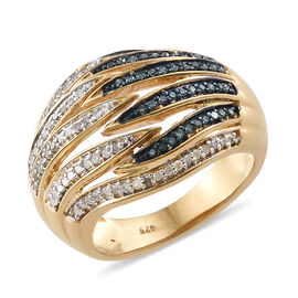 Blue and White Diamond (Rnd) Band Ring in 14K Gold Overlay with Blue Plating Sterling Silver 0.500 C