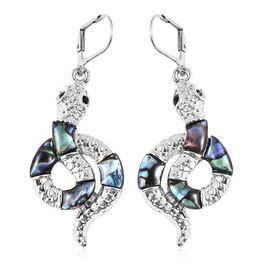 Abalone Shell, Black Austrian Crystal Earrings in Stainless Steel