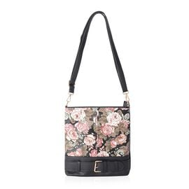 Black and Multi Colour Floral Pattern Crossbody Bag Size 24.5x20x5 Cm