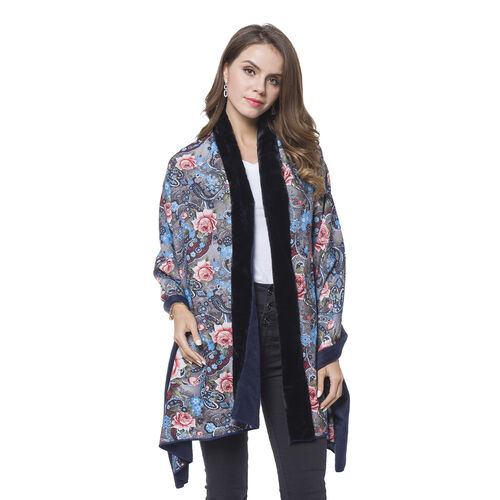 Black, Blue and Multi Colour Paisley and Floral Pattern Reversible Shawl with Faux Fur at Back (Size 180X80 Cm)