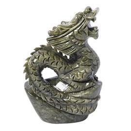 Elaborately Handcrafted Decorative Standing Dragon Figurine (Size 17x7cm) - Green Serpentine