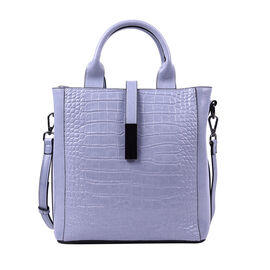 Sencillez Croc Embossed 100% Genuine Leather Convertible Bag in Blue (26x12x26 Cm)