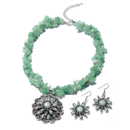 2 Piece Set - Green Aventurine, Green Howlite Hook Earrings and Necklace (Size 18 with 2.5 Inch Exte