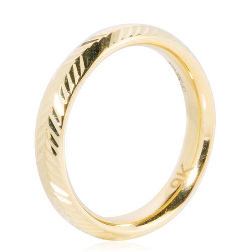 9K Yellow Gold Diamond Cut  Band Ring , Gold wt 1.33 Gms.