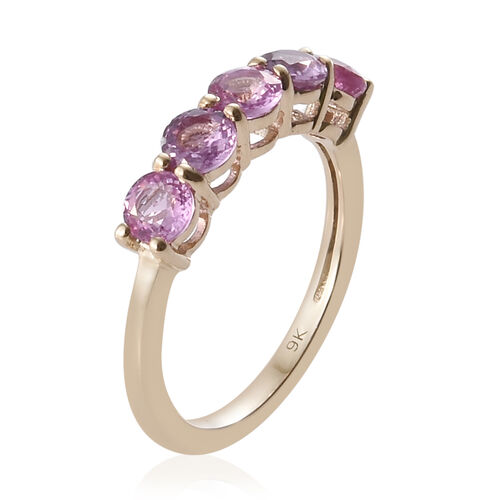 9K Yellow Gold AAA Pink Sapphire (Rnd) Ring 1.550 Ct.