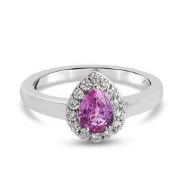 RHAPOSODY 950 Platinum AAAA Pink Sapphire, and Diamond Ring 1.04 Ct, Platinum Wt. 5.14 Gms