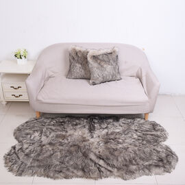3 Piece Set - Long Pile Faux Fur Rug (100x180cm) with 2 Sofa Cushion Covers (45x45cm-2Pcs) - Grey