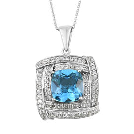TJC Launch - Marambaia Topaz (Cush 11.00 Ct), Natural Cambodian Zircon Pendant with Chain in Platinum Overlay Sterling Silver 12.750 Ct. Silver wt 9.40 Gms.