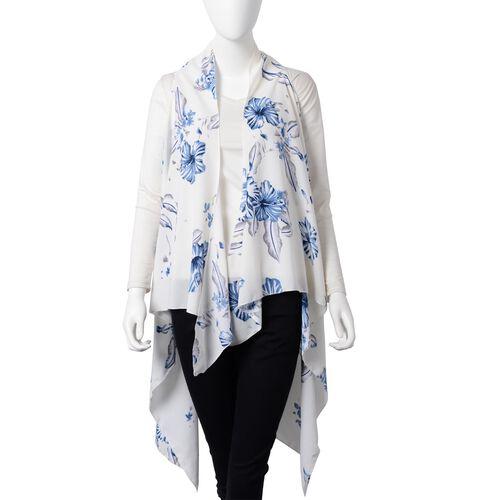New Season- White and Blue Colour Blossom Floral Pattern Kimono (Size 145x130 Cm)