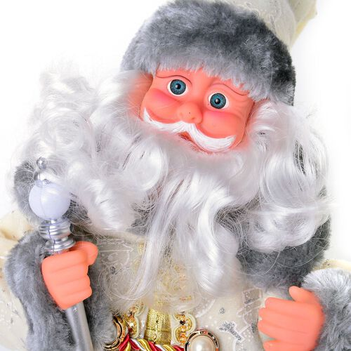 White and Grey Singing Santa with Silver Magic Wand (Size 47 Cm)